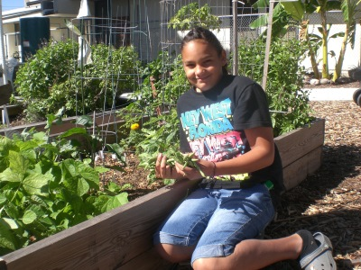 Gisselle and her first beans Nov. 29, 2009